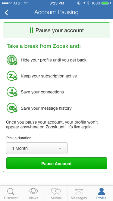 how to delete zoosk account