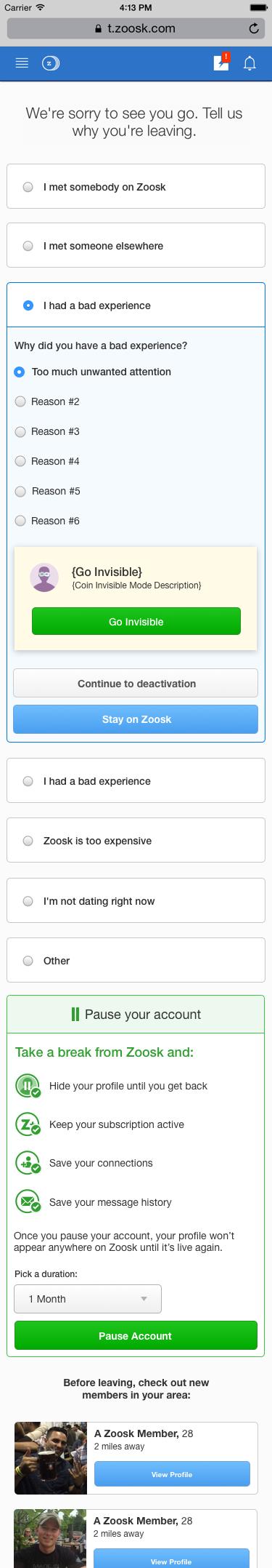 zoosk deactivate profile