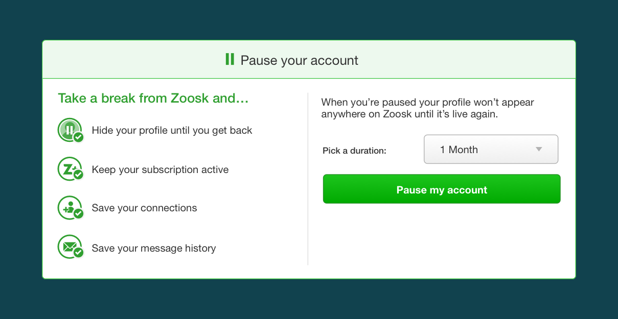 how to delete profile on zoosk app